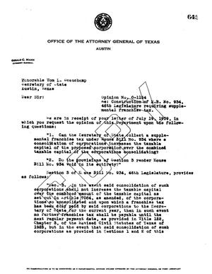 Primary view of object titled 'Texas Attorney General Opinion: O-1154'.