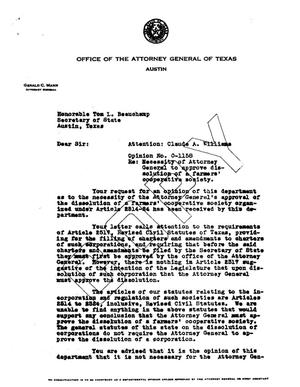 Primary view of object titled 'Texas Attorney General Opinion: O-1158'.