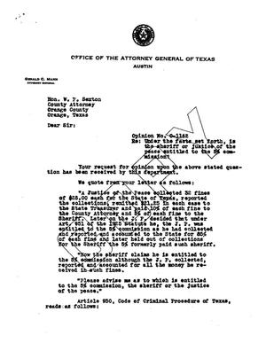 Primary view of object titled 'Texas Attorney General Opinion: O-1162'.