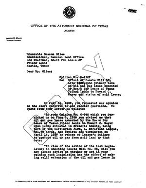 Primary view of object titled 'Texas Attorney General Opinion: O-1167'.
