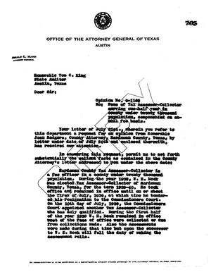 Primary view of object titled 'Texas Attorney General Opinion: O-1169'.