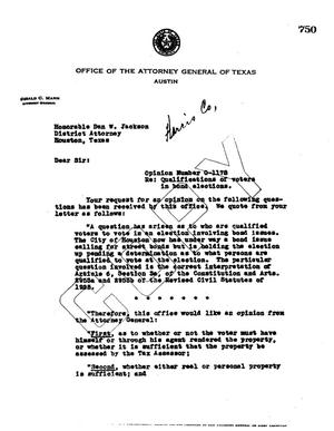 Primary view of object titled 'Texas Attorney General Opinion: O-1178'.