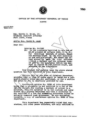 Primary view of object titled 'Texas Attorney General Opinion: O-1180'.