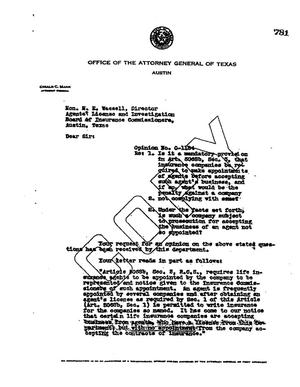 Primary view of object titled 'Texas Attorney General Opinion: O-1184'.