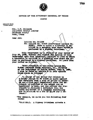 Primary view of object titled 'Texas Attorney General Opinion: O-1189'.
