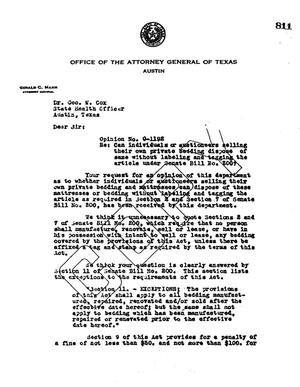 Primary view of object titled 'Texas Attorney General Opinion: O-1192'.