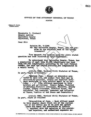 Primary view of object titled 'Texas Attorney General Opinion: O-1193'.