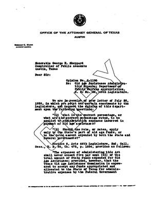 Primary view of object titled 'Texas Attorney General Opinion: O-1198'.