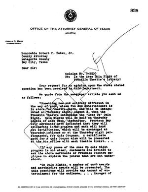 Primary view of object titled 'Texas Attorney General Opinion: O-1200'.
