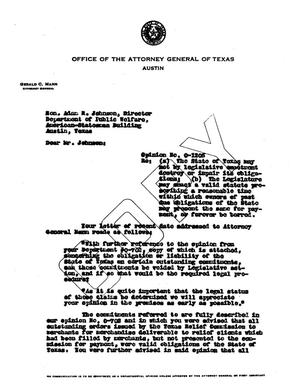 Primary view of object titled 'Texas Attorney General Opinion: O-1205'.