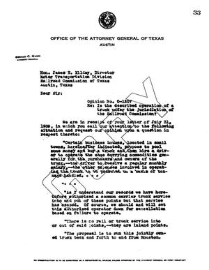 Primary view of object titled 'Texas Attorney General Opinion: O-1207'.