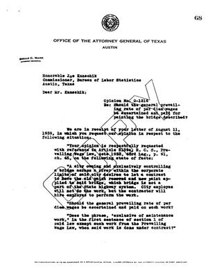 Primary view of object titled 'Texas Attorney General Opinion: O-1216'.