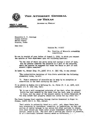 Primary view of object titled 'Texas Attorney General Opinion: O-1217'.