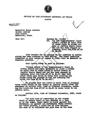 Primary view of object titled 'Texas Attorney General Opinion: O-1223'.
