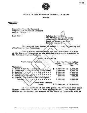 Primary view of object titled 'Texas Attorney General Opinion: O-1249'.