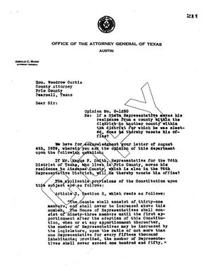 Primary view of object titled 'Texas Attorney General Opinion: O-1250'.