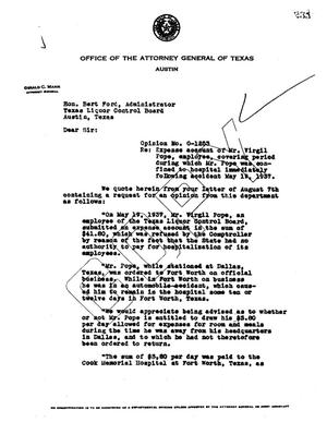 Primary view of object titled 'Texas Attorney General Opinion: O-1253'.