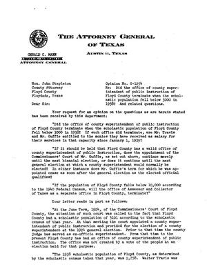 Primary view of object titled 'Texas Attorney General Opinion: O-1254'.