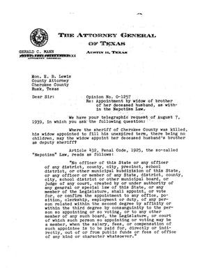 Primary view of object titled 'Texas Attorney General Opinion: O-1257'.