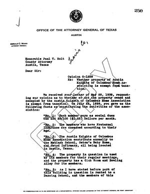 Primary view of object titled 'Texas Attorney General Opinion: O-1259'.