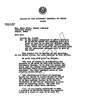Primary view of object titled 'Texas Attorney General Opinion: O-1260'.