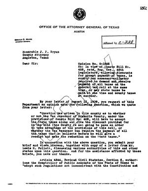 Primary view of object titled 'Texas Attorney General Opinion: O-1262'.