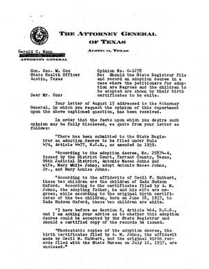Primary view of object titled 'Texas Attorney General Opinion: O-1278'.