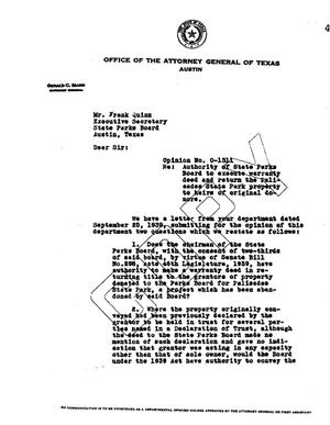 Primary view of object titled 'Texas Attorney General Opinion: O-1311'.