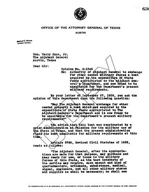 Primary view of object titled 'Texas Attorney General Opinion: O-1343'.
