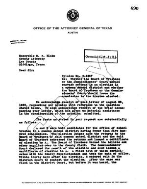Primary view of object titled 'Texas Attorney General Opinion: O-1357'.