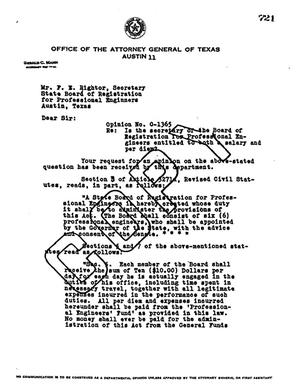 Primary view of object titled 'Texas Attorney General Opinion: O-1365'.