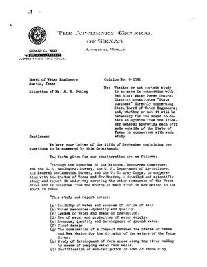 Primary view of object titled 'Texas Attorney General Opinion: O-1392'.