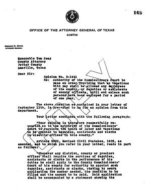 Primary view of object titled 'Texas Attorney General Opinion: O-1441'.
