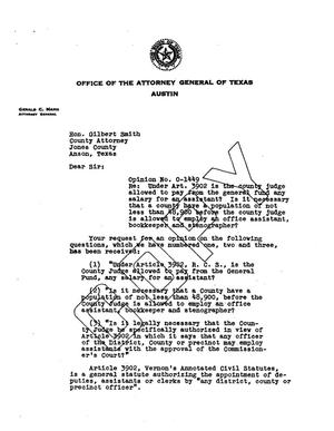Primary view of object titled 'Texas Attorney General Opinion: O-1449'.