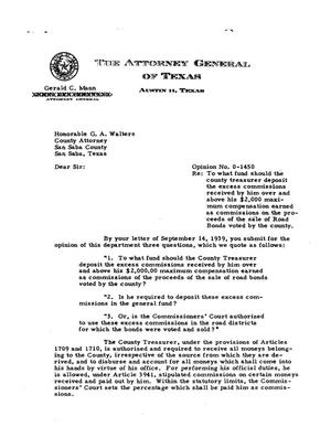 Primary view of object titled 'Texas Attorney General Opinion: O-1450'.