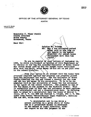 Primary view of object titled 'Texas Attorney General Opinion: O-1458'.