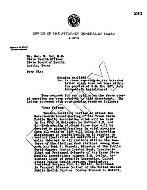 Primary view of object titled 'Texas Attorney General Opinion: O-1463'.