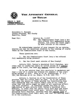 Primary view of object titled 'Texas Attorney General Opinion: O-1477'.