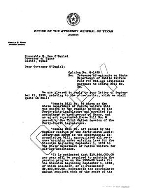 Primary view of object titled 'Texas Attorney General Opinion: O-1479'.