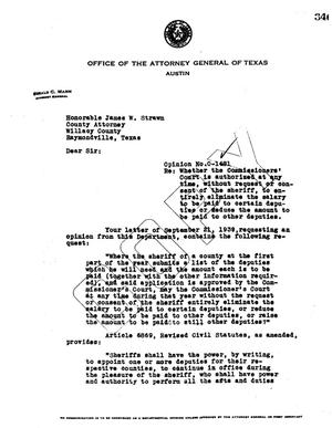 Primary view of object titled 'Texas Attorney General Opinion: O-1481'.