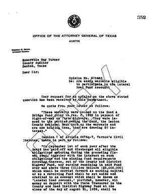 Primary view of object titled 'Texas Attorney General Opinion: O-1483'.