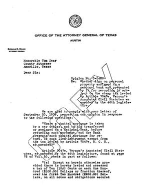 Primary view of object titled 'Texas Attorney General Opinion: O-1486'.