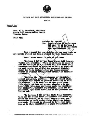 Primary view of object titled 'Texas Attorney General Opinion: O-1495'.