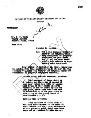 Primary view of object titled 'Texas Attorney General Opinion: O-1496'.