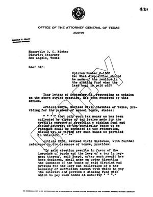 Primary view of object titled 'Texas Attorney General Opinion: O-1503'.