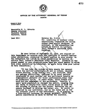 Primary view of object titled 'Texas Attorney General Opinion: O-1511'.