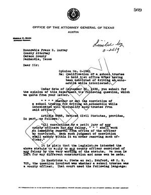 Primary view of object titled 'Texas Attorney General Opinion: O-1521'.
