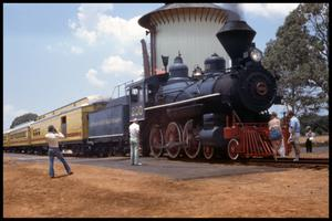 Primary view of object titled '[Texas State Railroad Train at Palestine Station]'.
