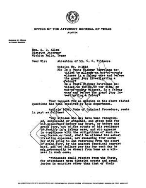 Primary view of object titled 'Texas Attorney General Opinion: O-1526'.