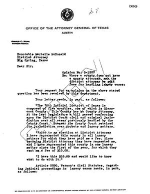 Primary view of object titled 'Texas Attorney General Opinion: O-1527'.